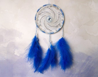 Small dream catcher wall hanging, Blue dreamcatcher, Boho bedroom decor, Hippie tapestry, Gift for her, Ethnic decorations, Pastel wall art