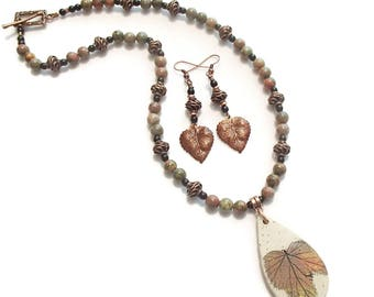 Fall Jewelry Leaf Pendant and Unikite Leaf Necklace and Earrings Alcohol Ink Painted Leaf Ceramic Pendant S19