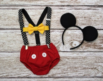 Mickey Mouse Birthday Outfit, Mouse First Birthday Outfit, Boys Cake Smash Outfit, PLEASE READ LISTING