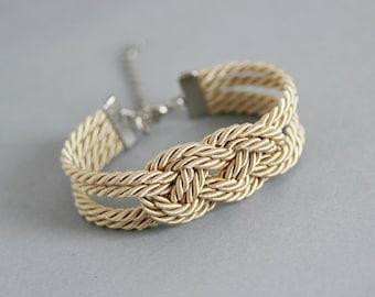 Beige Bracelet, Beige Knot Bracelet, Rope Bracelet, Sailor Knot, Rope Knot Jewelry, Nautical Bracelet,Nautical Knot, Beige Bracelet, Cord