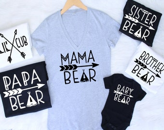 ALL SIZES Customizable Colors mama bear baby bear lil cub papa bear sister brother mommy daddy family matching set