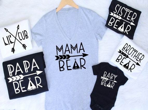 ALL SIZES Customizable Colors mama bear baby bear lil cub papa bea