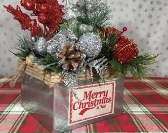 Merry Christmas metal tin
