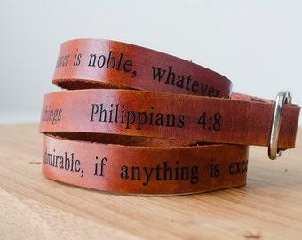 Philippians 4:8 Scripture Bible Verse Leather Wrap Bracelet - whatever is true, whatever is noble, whatever is right, whatever is pure
