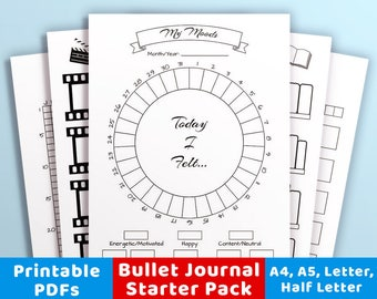 Bullet Journal Printables Starter Kit, Mood Trackers, Habit Trackers, Daily Log, Movies to Watch, Books to Read, Sleep Tracker, Workout Log