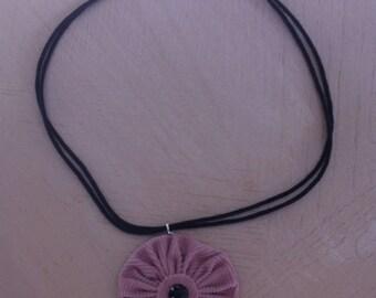 Pink velvet flower Choker necklace