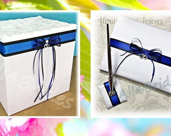 Thin blue line wedding guest book and card holder box, police wedding decorations.