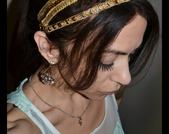 REGAL GRECIAN GODDESS Double Gold Sequin Headband Greek Roman Crown Egyptian Hair Formal Casual Evening Wear Party Fashion Dance Prom Women