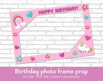 Birthday frame photo prop for Unicorn theme party. DIY frame prop for birthday party. Frame for selfie station. PDF File. Instant download.