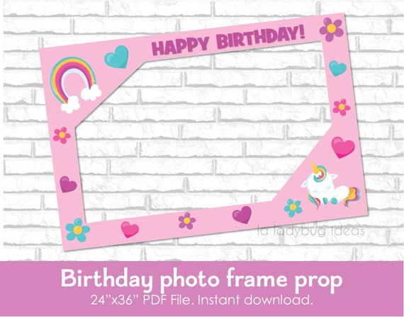 Birthday frame photo prop for Unicorn theme party DIY frame