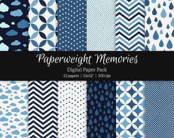 """Digital patterned paper - Midnight Blues -  digital scrapbooking - patterned paper - 12x12"""" 300dpi  - Commercial Use"""