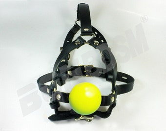 Harness Ball Gag - Quality Leather and Non-toxic Silicone - 2' inches Yellow Mouth Plug - Head Gear Training Harness, Mature