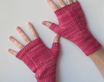 Rib and Texture Knit Texting Gloves Pattern -  MOIRAI Fingerless Mitts Knitting Pattern PDF - Instant Download