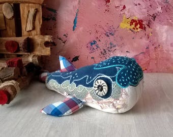 Hand knitted little Whale toy, fish toy, handmade toy - soft toy, plush toy, stuffed toy