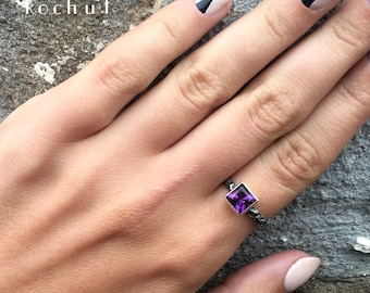 """Unique amethyst ring, amethyst rings, silver rings with amethyst. The original female ring """"Kaiser"""" from Kochut."""