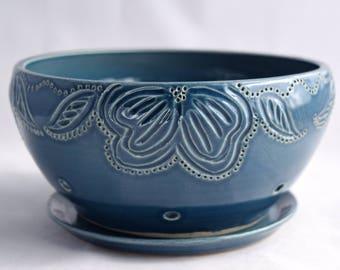 Berry Bowl in Slate Blue - Ceramic Colander - Stoneware Pottery