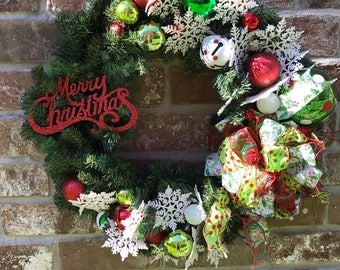 Free Ship! Whimsical Christmas Wreath, Garland, Shatterproof Lime Green, Red, Dark Green, and White Ornaments, Big Jingle Bells, Snowflakes