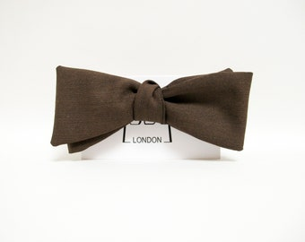 Brown cotton/wool mixed slim thistle bow tie