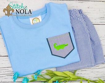 Gator Pocket Tee Set, Gator  Shorts Set, Gator  Shirt and Shorts, Boy Gator  Pocket Shirt, Toddler Gator Shorts Set
