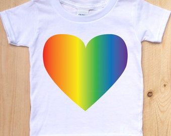 Pride Shirt/ Toddler T-Shirt/ Baby Pride Wear/ Shirt with Heart/ Rainbow Heart Shirt/ Pride for Kids/ Pride Festival/ LGBT Pride/ Family