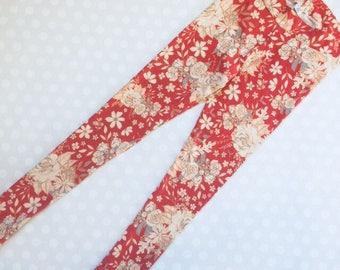 Floral Print Leggings - coral floral - Leggings for Women and Teens - Womens Print Leggings - Floral Leggings - coral Floral Print Leggings