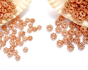 50 Rose Gold Plated Daisy Spacers - 4mm Or 5mm -17-13
