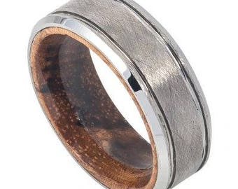 Ice Finish Beveled Edge with African Sapele Mahogany Wood Sleeve/Inner Ring – 8mm