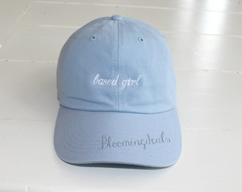 Custom Baseball Caps, Personalized Hats, Classic Dad Cap Light Blue Ball Unisex Hat, Custom Embroidery by Bloomingdeals
