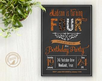 Birthday Invitation, Safari Animal Party, Zoo Party, Wild Animal Invitation, Tweens Birthday Invitation, Printable, Digital. 1509