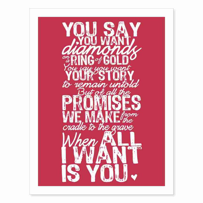 Typography art print all i want is you v5 marriage wedding zoom stopboris Choice Image