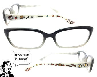 Women's Retro 2.25 Strength Breakfast Themed Reading Glasses w/ Hand Painted Eggs, Bacon, Strawberries, Coffee, Pancakes, Toast, Polka Dots