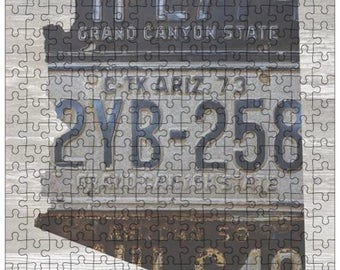 Arizona Jigsaw Puzzle   Vintage License Plate Art   State Outline   Fun Puzzle