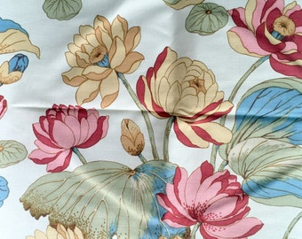 Vintage MOD Retro Fabric Canvas cotton twill Tropical Flowers Lily Pads 65x52""