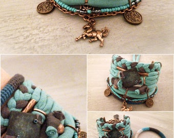 Patina Green Boho Bracelet Bohemian Jewelry Horse Charm Hippie Bracelet Stack Turquoise Grey Gypsy Chic Jewelry Copper Tone Findings