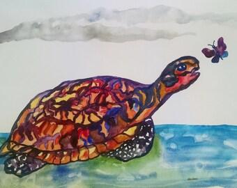 Turtle watercolor painting, original turtle watercolor