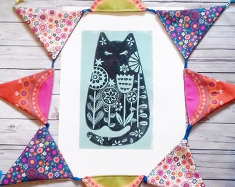 Black & green floral cat -  handmade lino print