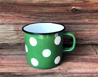 Green with White Polka Dots Enamelware Cup