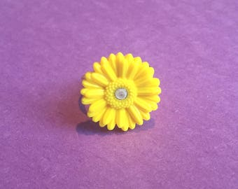 Handmade clay sunflower ring: Choose from several colors!