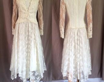 Mcclintock bridal etsy jessica mcclintock bridal lace wedding dress asymmetrical hem 29w junglespirit Gallery