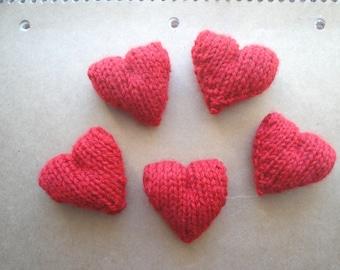 Red Pocket Hearts, Plush Amigurumi Hearts, Handful of Hearts, Sweet Hearts, Set of 5 Knit Hearts, Cute Kawaii, Valentines Day