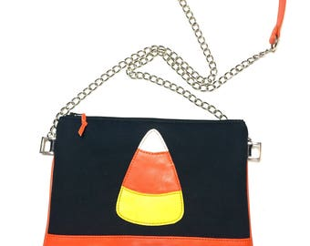 Candy corn bag, Halloween bag, Leather bag, Candy corn, Halloween crossbody bag