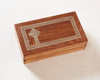 Hand made Wooden Urn, made of solid Caribbean Rose wood with a Celtic Cross inlayed with Silver