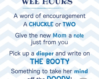 Words for the Wee Hours Baby Shower Diaper Sign Game Blue Chevron Instant Download