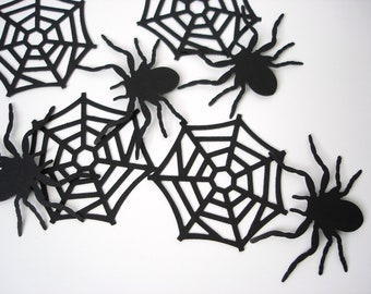 10 Halloween Black Spiderweb and Spider Confetti embellishments - No610