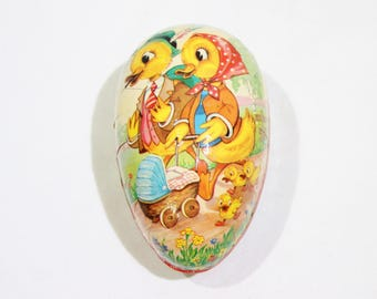 Vintage Paper Mache Egg, Ducks and Ducklings, Baby Ducks, Anthropomorphic, Western Germany, Easter, Easter Decor