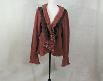 Romantic Clothing, Brown Lace Cardigan, Altered Clothing, Hand Crochet Accents, Brown Lace Sweater, Gift for Her, Upcycled Sweater
