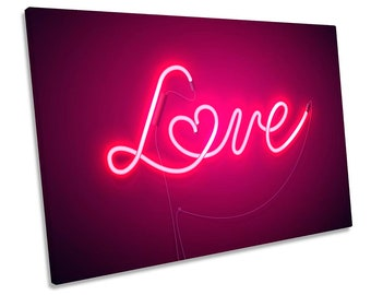 Neon Love Heart Pink Framed SINGLE CANVAS PRINT Wall Art