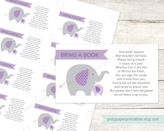 bring a book instead of a card insert printable baby girl shower elephants purple lavender grey cute baby digital shower - INSTANT DOWNLOAD
