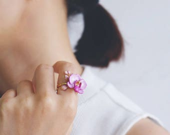 Phalaen Purple Ring , Flower Ring , Handpainted GOODAFTERNINE , Phalaenopsis , Orchid