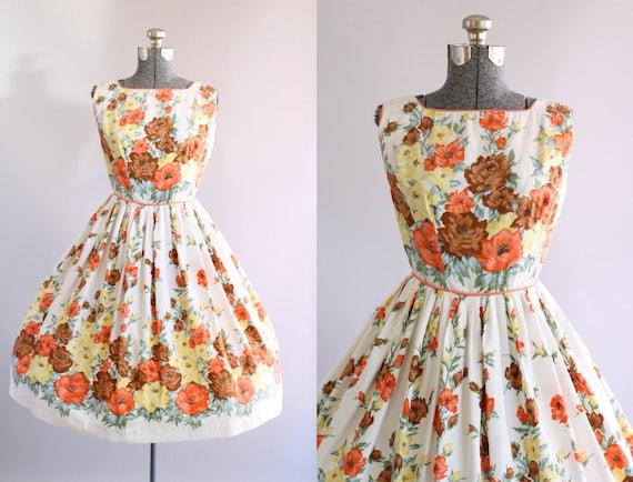 Jahrgang 1950 Kleid / 50er Jahre Baumwolle Kleid-Orange-gelb